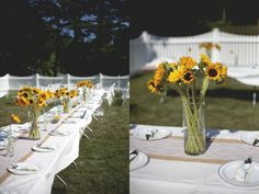 Outdoor Summer Wedding with Sunflowers |photo by http://www.joannafisher.com  see more http://www.thebridelink.com/blog/2013/07/19/outdoor-summer-wedding-with-sunflowers/