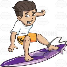 A guy surfing at the beach #cartoon #clipart #vector #vectortoons #stockimage #stockart #art