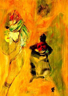 """2-Toulouse Lautrec x Cris Acqua.  Pintura Mixta Collage. 30x21 cm.  HOMENAJE :""""Mi amor por este genial pintor...dueño de los trazos más libres y geniales de la Belle epoque, me han influido totalmente en mi camino por el arte..."""" (Cris Acqua)  http://www.crisacqua.com"""