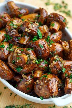 Roasted Garlic Soy Balsamic Mushrooms Recipe Category Vegan & Gluten Free Ingredients 2 pounds mushrooms 1 tablespoon oil 3 tablespoons balsamic vinegar 2 ta