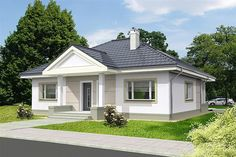 Projekt domu Lucia IV DCB88c 98,82 m2 - koszt budowy 215 tys. zł - EXTRADOM 3d House Plans, Indian House Plans, Dream House Plans, Shed Plans, Bungalow Porch, Modern Bungalow House, Bungalow House Plans, Office Floor Plan, Compact House