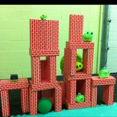 Inspired by something I saw in Pinterest. Life-size Angry Bird game...My son would LOVE this!!