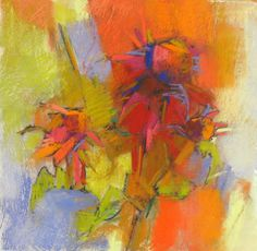 Hot Flowers pastel on paper 13x13 inches Debora L. Stewart.  Love the look of pastel especially in abstracts.