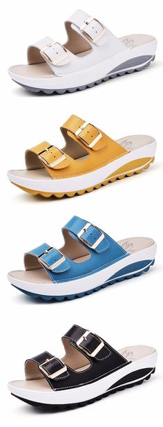 46% OFF! US$26.46 Candy Color Leather Buckle Metal Color Match Platform Beach Sandals Slippers. SHOP NOW!