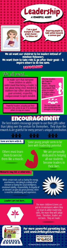 Leadership - A Powerful Word! #PowerfulWords #DrRobyn  For more #Parenting Tips visit http://www.drrobynsilverman.com/