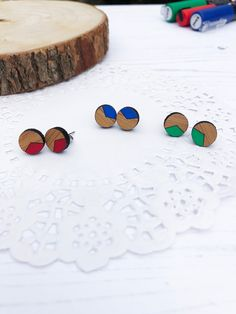 Wooden Earrings - Painted Bamboo Earrings - Teacher Gift - Laser Cut Jewellery - Thank You Gift by TheMessyBrunette on Etsy Diy Earrings Studs, Wooden Earrings, Simple Jewelry, Diy Jewelry, Jewlery, Painted Bamboo, Hand Painted, Thank You Gifts, Gifts For Mom