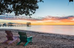 A peaceful sunset on Mobile Bay, taken from the Fairhope Yacht Club in Fairhope, Alabama.