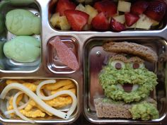 Oscar The Grouch Lunch  www.veggie-bento.com I bet this is a good way to get a kid to eat some veggies.