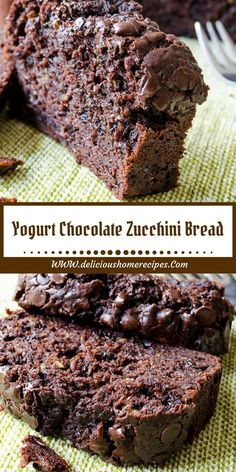 Yogurt Chocolate Zucchini Bread - Food And Beverage Recipes Bread Machine Recipes, Easy Bread Recipes, Cake Recipes, Dessert Recipes, Pudding Recipes, Vegan Recipes, Just Desserts, Delicious Desserts, Yummy Food