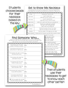 Get to Know You Necklace Freebie, students follow a glyph to crate a necklace that represents their likes, dislikes, etc. Free printables & examples. Fun for back to school!
