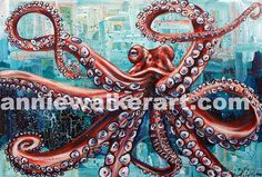 Polipo, acrylic on canvas, annie walker art, octopus painting