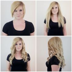 Gorgeous before and after hair transformation achieved with Tressmerize clip in hair extensions system for short hair. This is dirty blonde -TressLure
