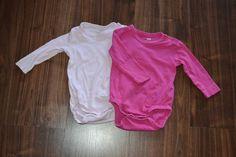 Langarmbodys pink & weiß