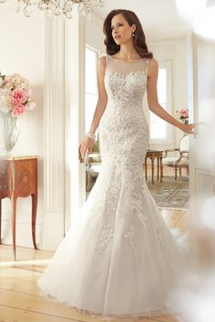 2015 Wedding Dresses Scoop Trumpet/Mermaid Court Train With Applique And Beads Tulle