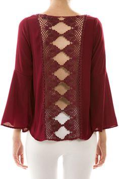 Unique+Crochet | Unique Crochet Back Chiffon Blouse