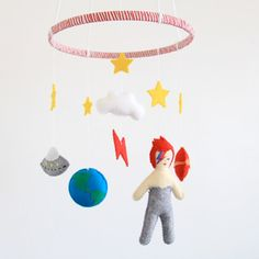 Ziggy Stardust Crib Mobile/ David Bowie Baby by FeltedFoxShop