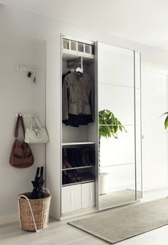 Ikea PAX wardrobe for storage in the hallway. Ikea Hallway, Hallway Storage, Storage Mirror, Storage Room, Ikea Entryway, Hallway Closet, Ikea Storage, Bedroom Organization, Ikea Pax