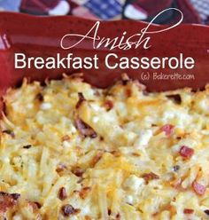 Amish Style Breakfast Casserole~~~This Amish breakfast image: http://images.intellitxt.com/ast/adTypes/icon1.png  casserole is real winner. Eat it for breakfast or dinner - it works both ways. Amish Style Breakfast Casserole is filled with three different types of cheese - Cheddar, Swiss, and cottage - hash browns, and bacon. Don't forget the bacon. It's a simple recipe that you won't get tired of. You should keep it handy because you never know when you might need it.
