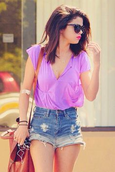 High waisted shorts outfit cute purple shirt