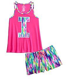 Initial Dye Effect Pajama Set
