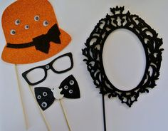 Halloween Photo Booth Party Props wedding photo booth props mustache on a stick Halloween Photo Booth Props, Photo Booth Party Props, Baby Shower Photo Props, Halloween Backdrop, Halloween Photos, Holidays Halloween, Halloween Kids, Halloween Themes, Halloween Crafts
