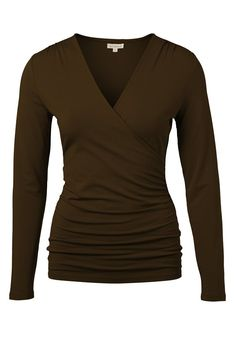 Kettlewell faux wrap long sleeve in chocolate