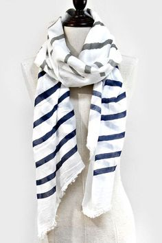 Stripey Scarf in Navy and White