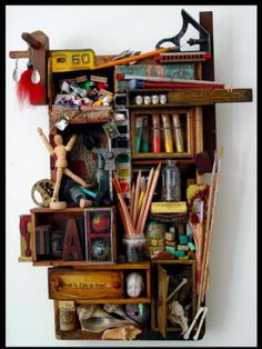 This is what I've been wanting to do with my vintage art supplies or my  vintage sewing supplies (for the antique bed/sewing room) or with all of my old cameras!
