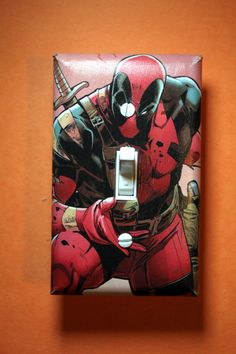 Deadpool Comic Book Superhero Light Switch Plate by ComicRecycled