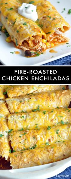 Fire-Roasted Chicken Enchiladas - shredded chicken, corn, beans, and cheese are rolled up in corn tortillas, then covered with homemade enchilada sauce for a delicious and comforting meal! (recipes with chicken shredded) Spicy Recipes, Mexican Food Recipes, Dinner Recipes, Cooking Recipes, Game Recipes, Mexican Desserts, Chinese Recipes, Simple Recipes, Recipies