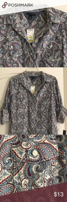 NWT tommy shirt Vivid paisley Tommy Hilfiger button up blouse Perfect condition never worn smoke free pet free home Tommy Hilfiger Tops Button Down Shirts