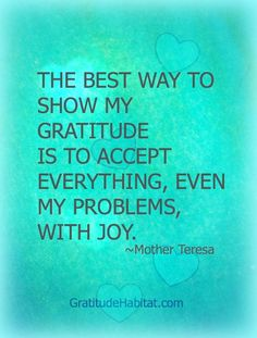 The best way to show my gratitude is to accept everythin, even my problems, with joy.