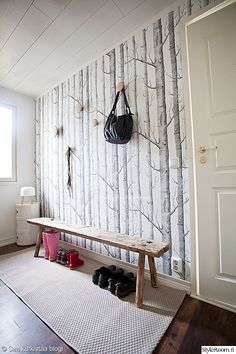 Birch Tree Wallpaper Kitchen Cole And Son 20 Ideas For 2019 Grey Pattern Wallpaper, Wood Effect Wallpaper, Framed Wallpaper, Modern Wallpaper, Wallpaper Wallpapers, Shabby Chic Tapete, Cole And Son Wallpaper, Birch Tree Wallpaper Cole And Son, Black And White Wallpaper