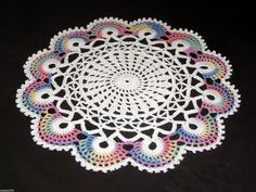 """Crochet Doily Easter Fans Scallop Lace White Pastels 10"""" new"""
