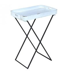 METAL_WOODEN TRAY TABLE IN WHITE COLOR 52X32X68