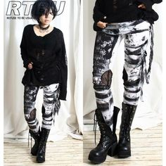 Unisex Ultra Long Gathered Punk Gothic Rocker Distressed Tie Dye... ($42) ❤ liked on Polyvore featuring pants, leggings, bottoms, grey, women's clothing, grey pants, ripped leggings, tie-dye leggings, ripped pants and goth leggings