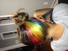 Rainbow hair underneath!! I love this idea cause I always have my hair up!! Because I play sports every day!!!