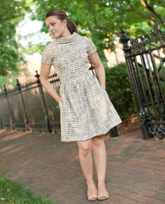 Womens Vintage Inspired Dress / Casual Dresses / Party Dress / Tweed / Mad Men / Office Fashion / Business Attire / Spring / 50's Dress, $89.00