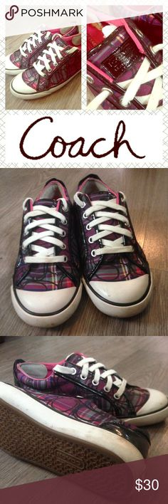Size 7 1/2, but could fit size 7 as well. Pretty plaid coach sneakers. Used (as seen in pics), but good condition. Size 7.5, but could probably fit size 7 as well. Coach Shoes Sneakers