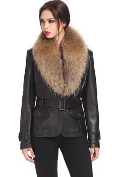 Jessie G. Women's Belted Lambskin Leather Jacket with Raccoon Fur Collar. Check out this great style for $299.99 on Luxury Lane. Click on the image above to get a coupon code for 10% off on your next order.