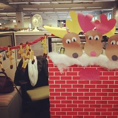 The Reindeer Stable at our office North Pole - office decorating/cube decorating, Santa's Village