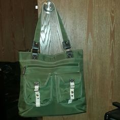 Olive green large shoulder bag Cute green large shoulder bag 2 zipper components 2 outter buttoned pockets. Excellent condition Bags Shoulder Bags