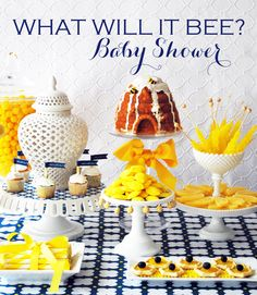 A yellow & french blue bumble bee baby shower from Kelly Lyden (an excerpt from her book, Stylish Kids' Parties).  Ideas for a bee themed kids' birthday party or baby shower, including decorations, DIY projects, a yellow dessert table, and themed party favor.  #whhostess #stylishkidsparties #bumblebee #bee #babyshower #kidsparties #desserttable #yellow #blue #preppy #decorations #diy