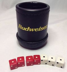 Rare Vintage BUDWEISER Black Stitched Leather Dice Cup Game Beer Advertising #Budweiser