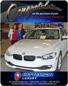 Congratulations on the purchase of your 2014 BMW 320 - Heike Misner Luxury Vehicle, Luxury Cars, Wichita Falls, New Bmw, Mercedes Benz, Congratulations, Vehicles, Rolling Stock
