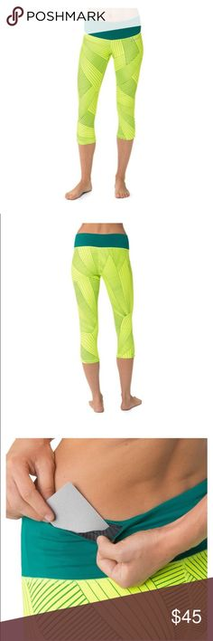 "Brooks Greenlight Capris Reversible Running Capris • Form-fitted, mid-rise, 20"" inseam • DriLayer HorsePower offers great support  • Reversible from a print to a solid • Chafe-free, flatlock seams • Wide, flat, power waist with two pockets (one sweat-resistant) slims and stays put • Ruched at side hem Brooks Pants Capris"
