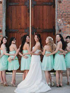 On Sale A line Sweetheart Short Mini Coral/Mint Bridesmaid Dress