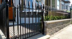 metal gate and rail victorian london front garden company mosaic paving wall yorkstone caps and bullnose london