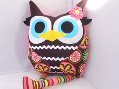 Handmade stuffed toy owl pillow owl plush with by karensagez, $32.00