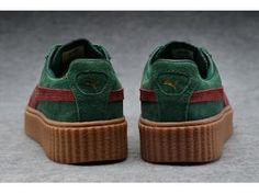 new style b88ce 851af Basket Puma Rihanna Suede Creeper Femme Vert